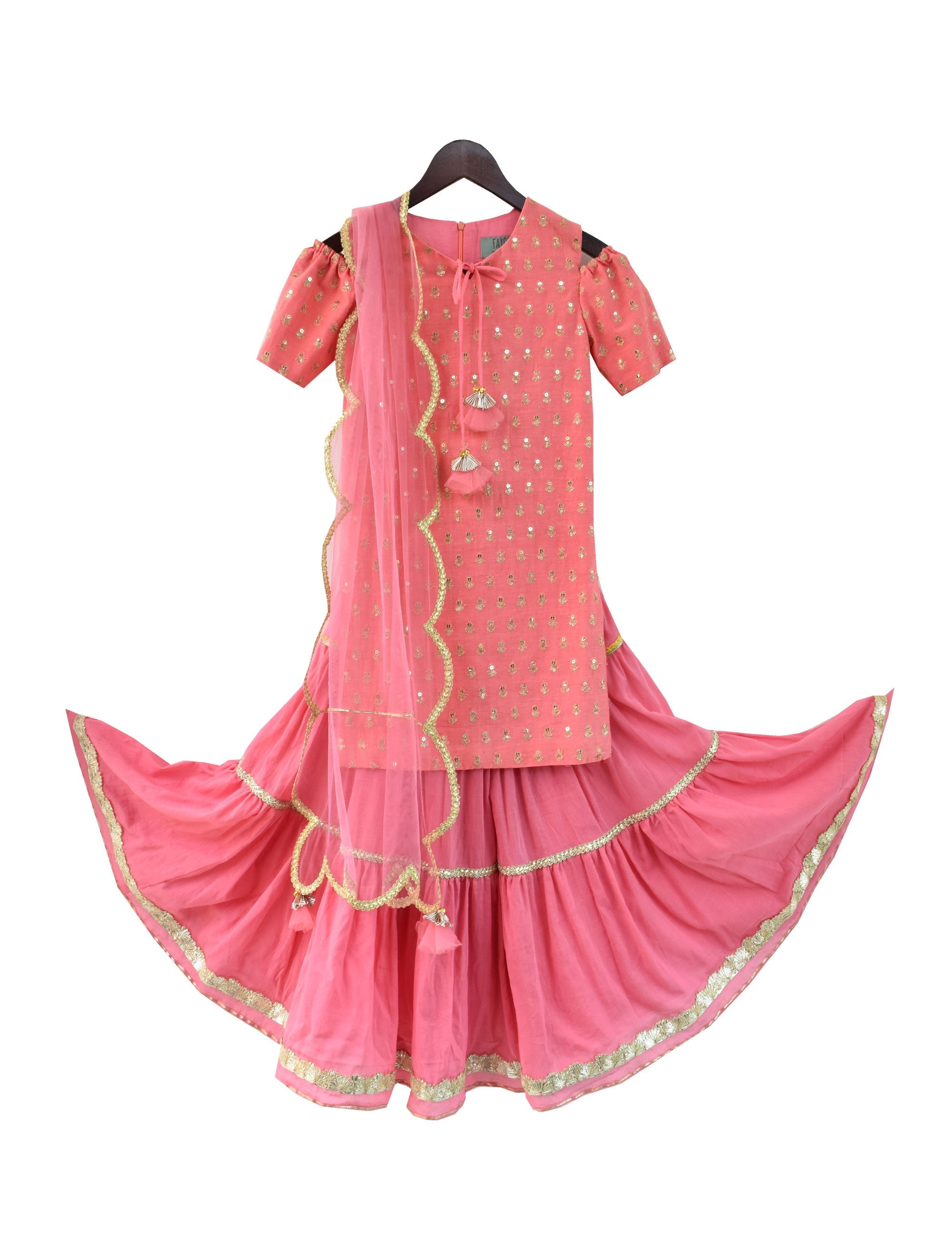 Embroidery Kurti with Sharara in Coral Orange Colour for Girls