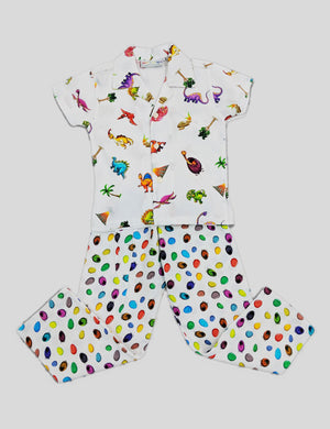 Dinosaurs Print Cotton Nightwear in Multi-Colour for Boys (Half Sleeves)