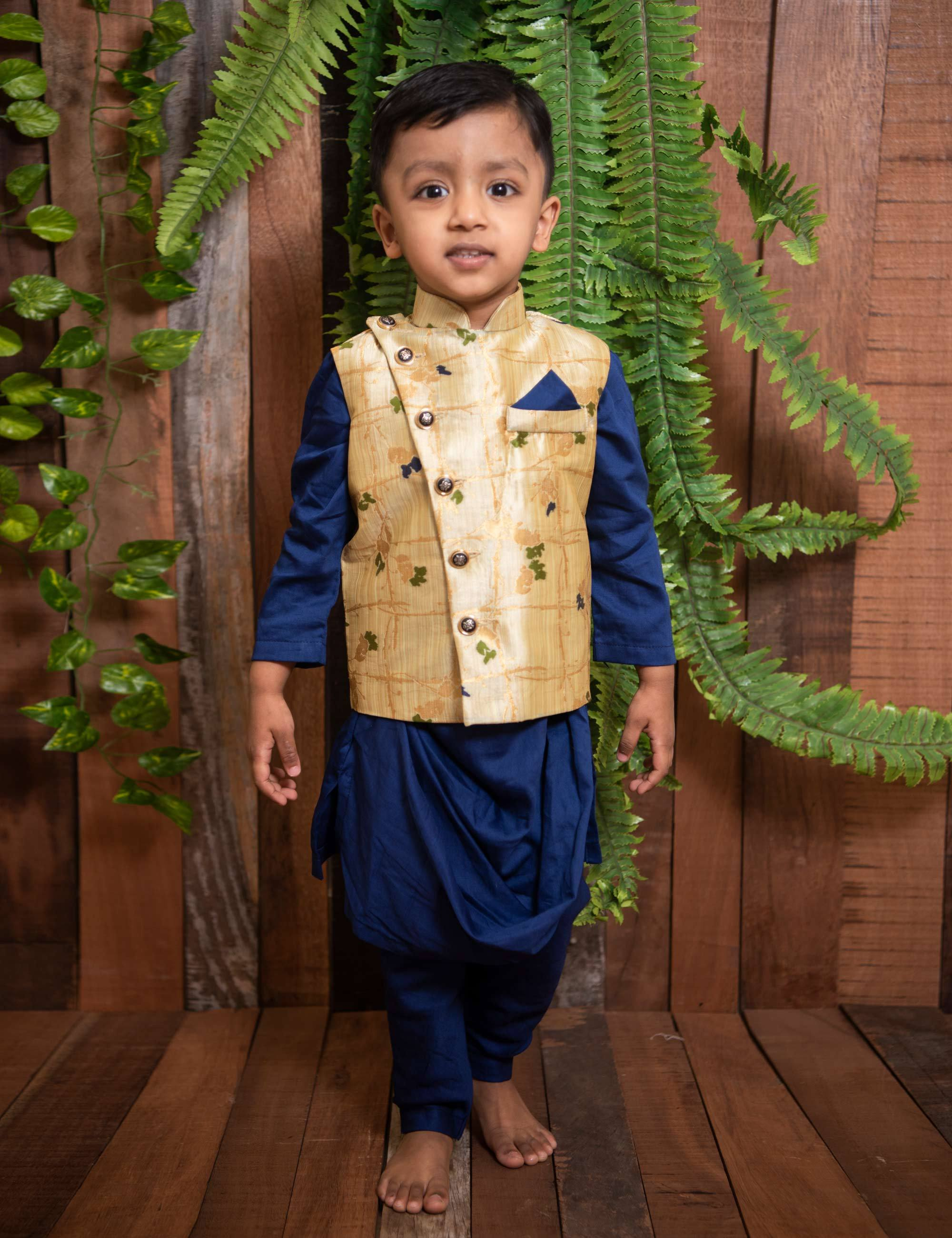 Blue Kurta Pyajama Set with Nehru Jacket.