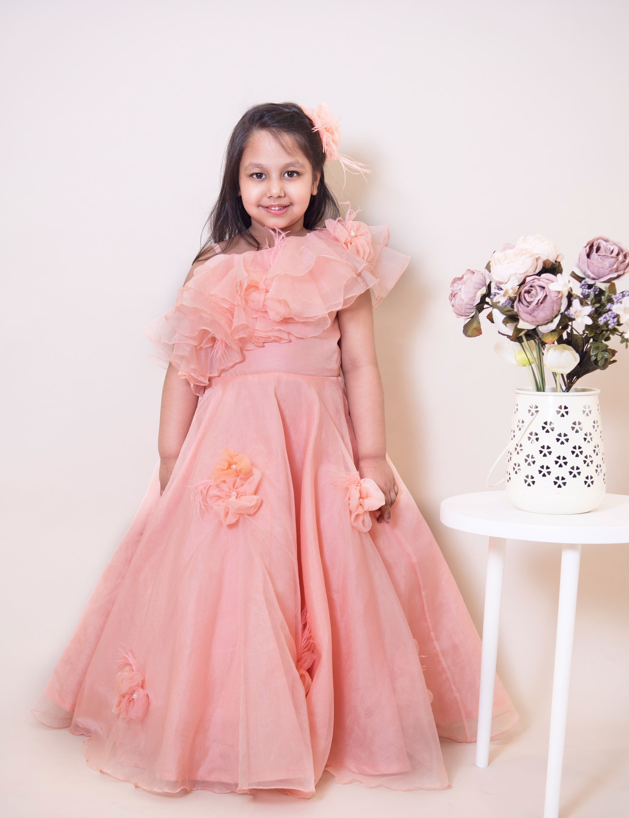 Peach Feather Gown