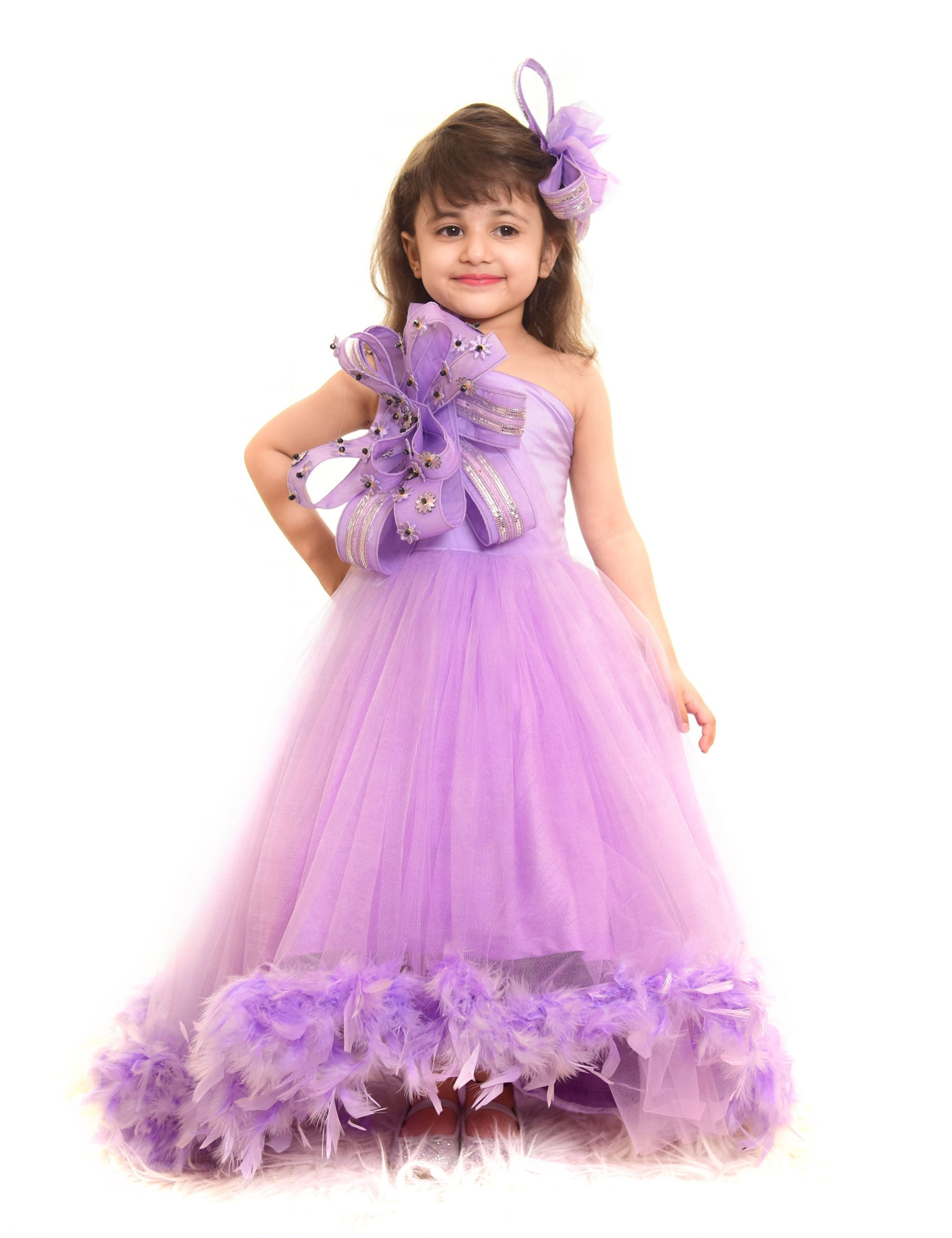 Lilac Purple Feather Gown