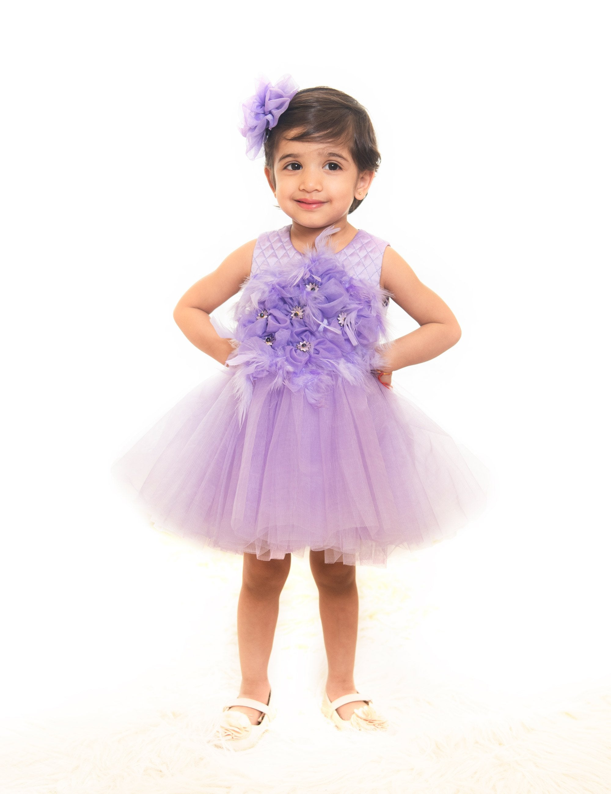 Lilac Purple Feather Short Dress