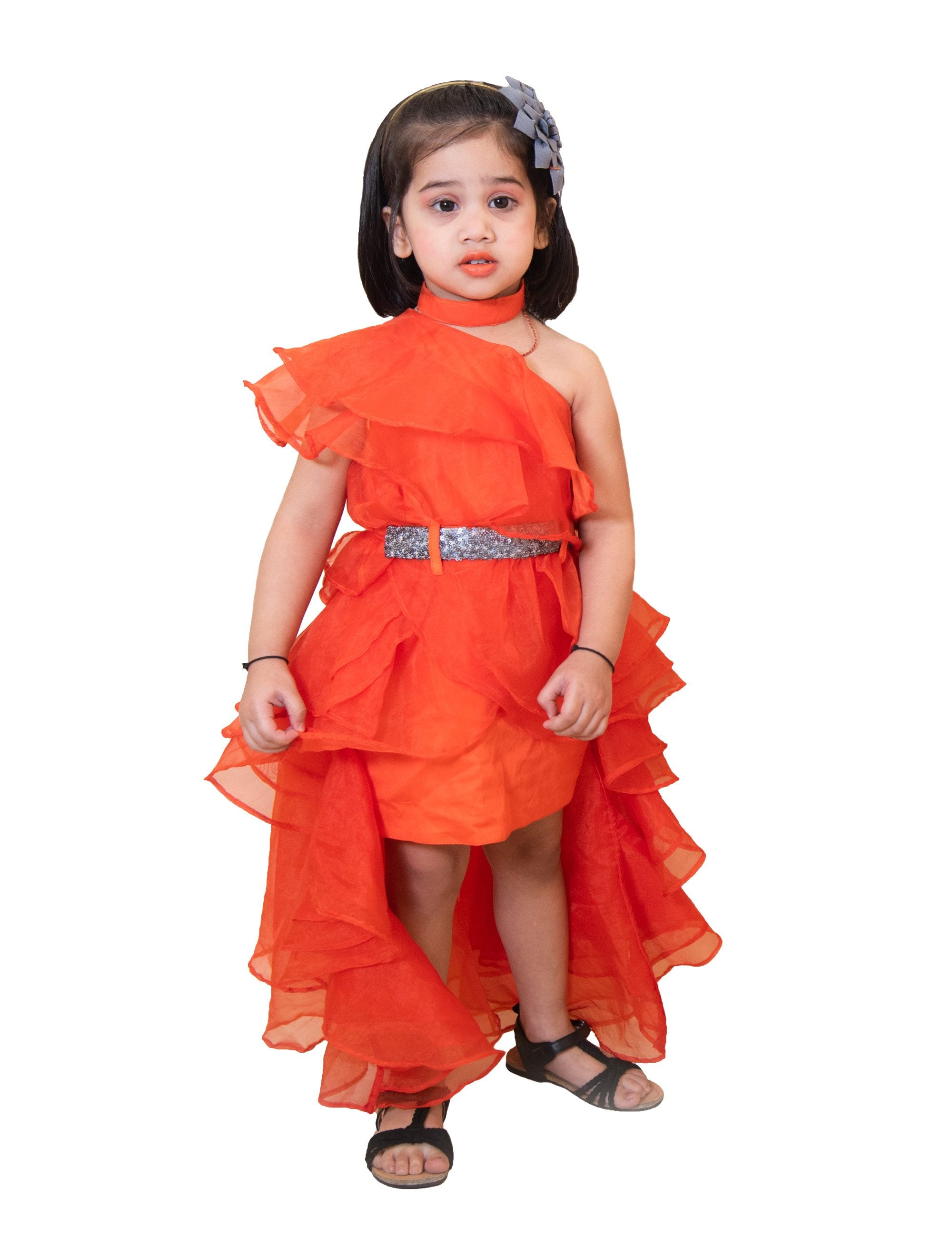 Stylish Orange Dress with Silver Belt