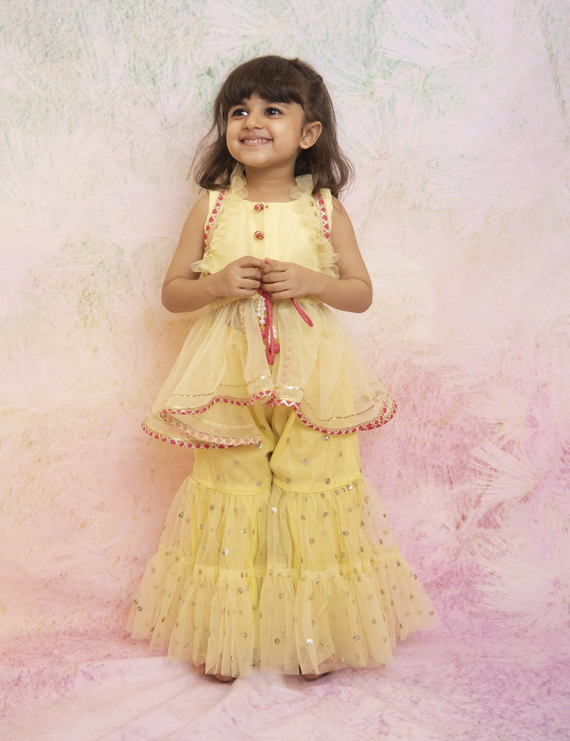Yellow Sequin Sharara Set