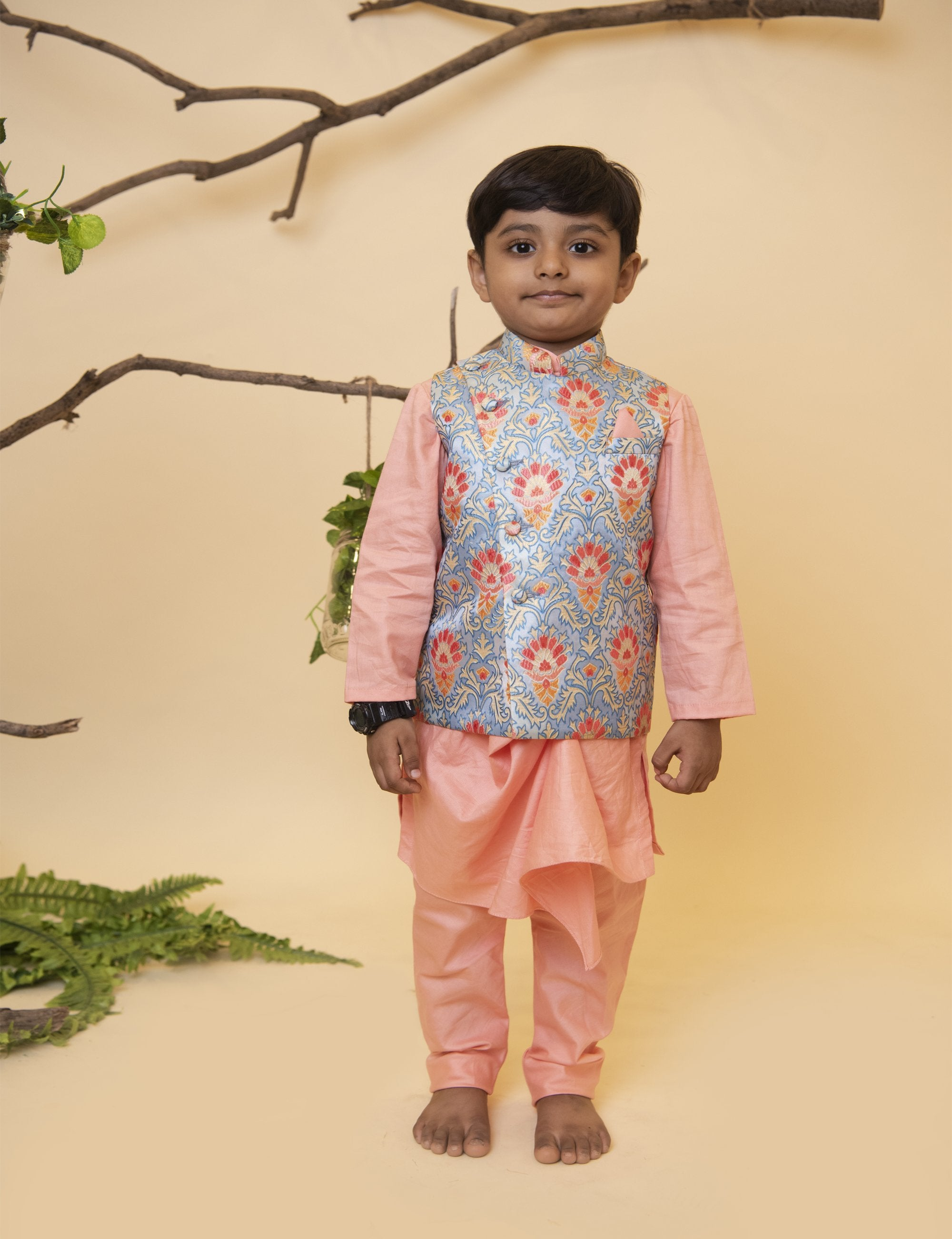Peach Kurta Chudidar with Floral Jacket