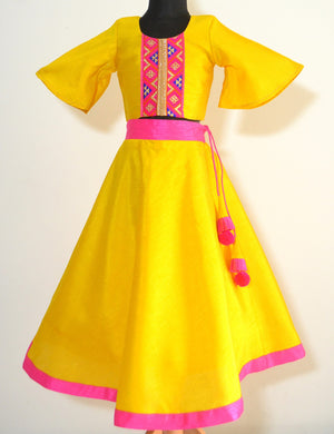 Bell Sleeved crop top and Skirt- Fuschia Pink & Yellow