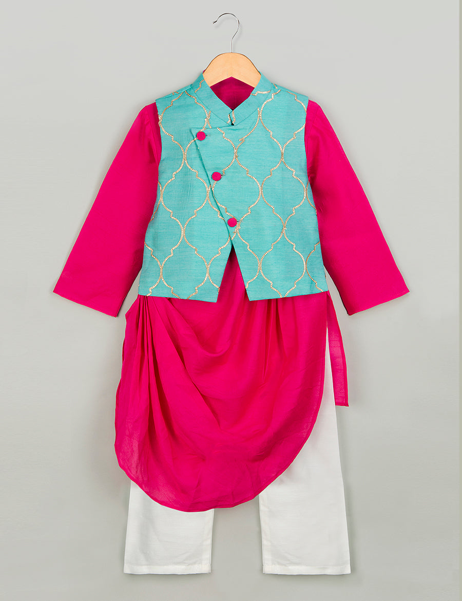 Pink Kurta with Mint Gota Work Nehru Jacket