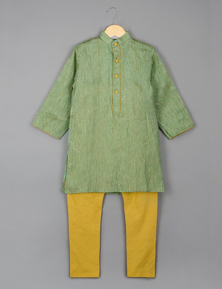0074760a5e Mustard and Green Kurta Pyajama Set for Boys