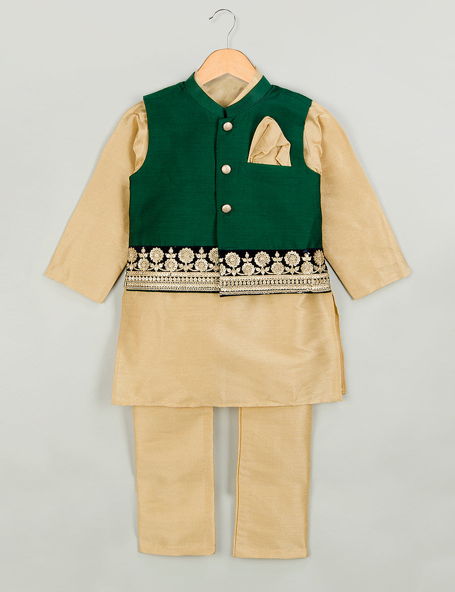 Dark Green Embroidered Jacket with Kurta Set