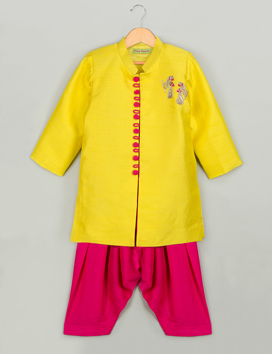 Lemon Yellow Sherwani Set