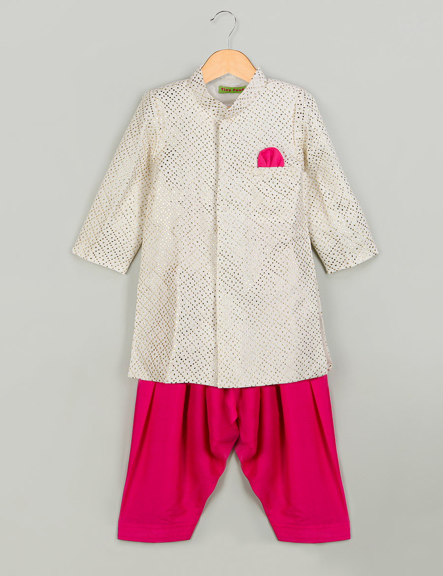 White Mukaish Sherwani with Pink Salwar
