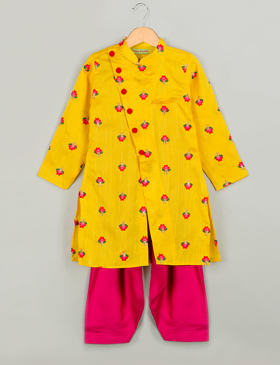 Yellow Flower Kurta with Salwar
