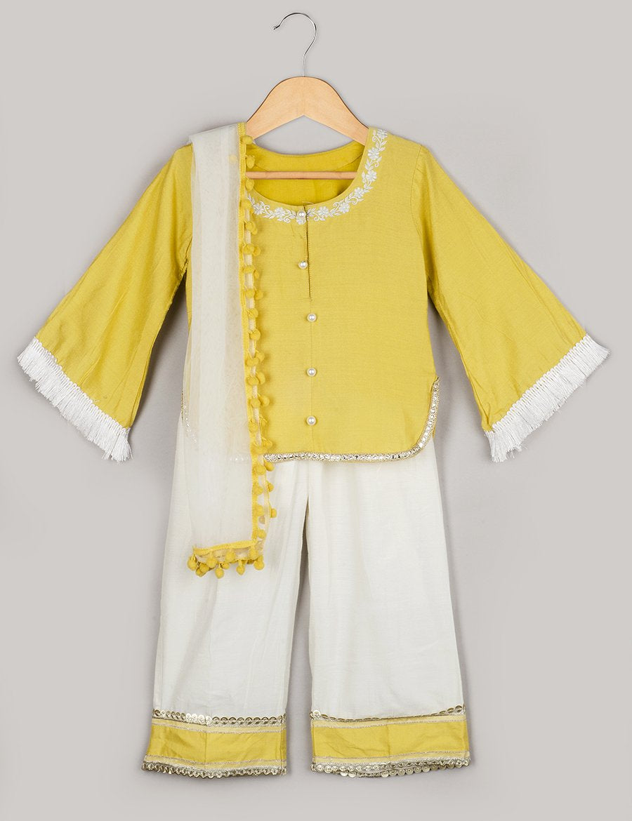 Yellow Kurta with White Pant and Duppatta