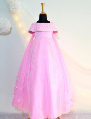 Off-Shoulder Rose Gown with wings-  in Pink colour for Girls