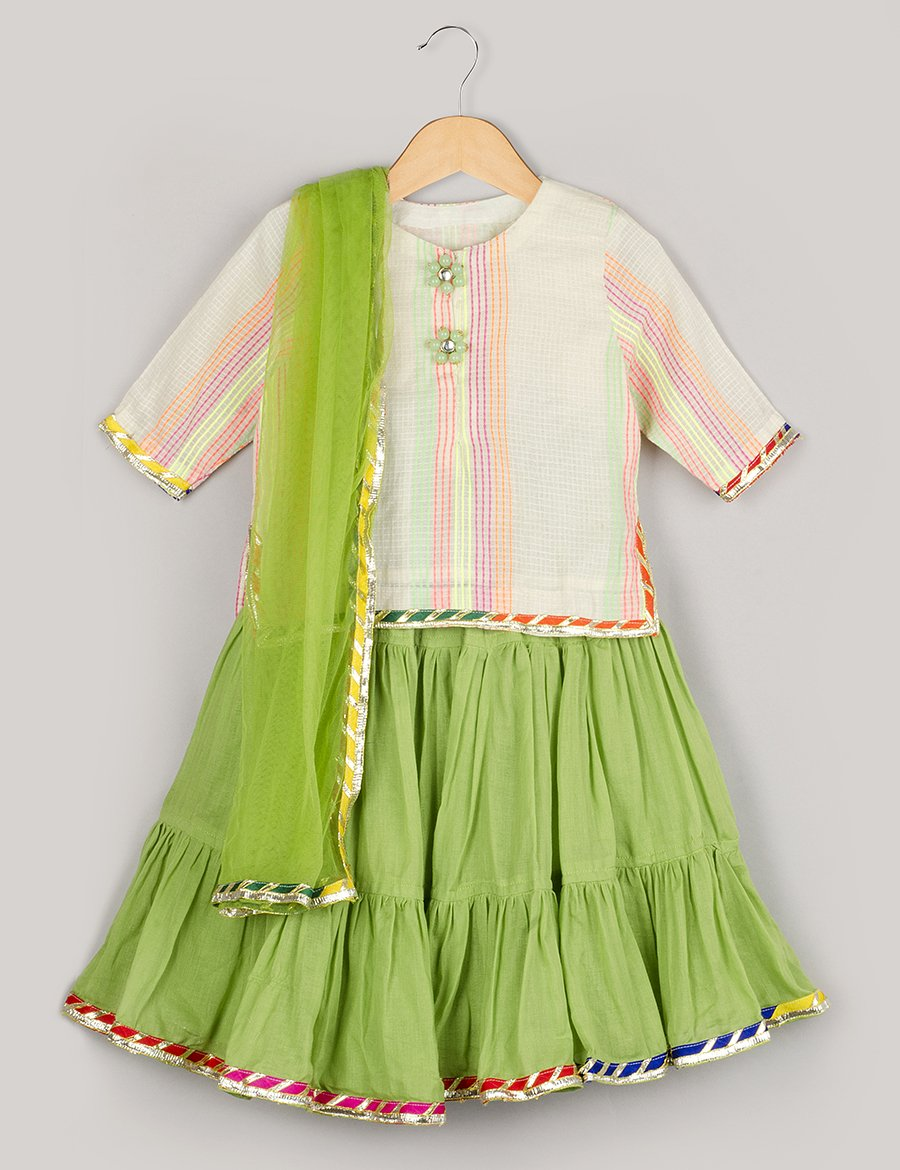 Off-white Top And Green Ghagra With Dupatta