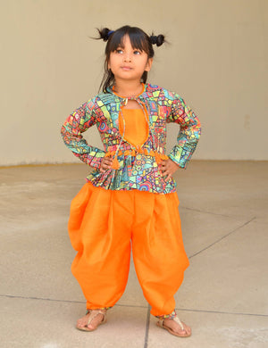 Top, Jacket and Dhoti set - in Orange colour for Girls