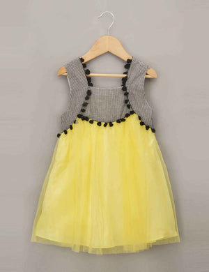 Dress with Checked Bodice and Contrast Bright Yellow Skirt for Girls