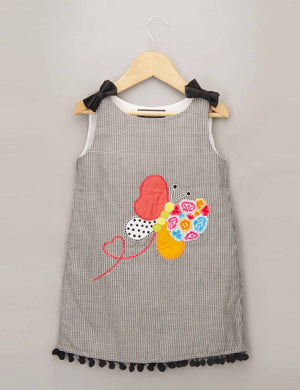 A- Line Checked Dress with Embroidered Patchwork Butterfly for Girls