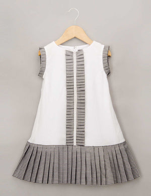 Black and White Dress with Ruffle Detail On Center Front and Armhole for Girls