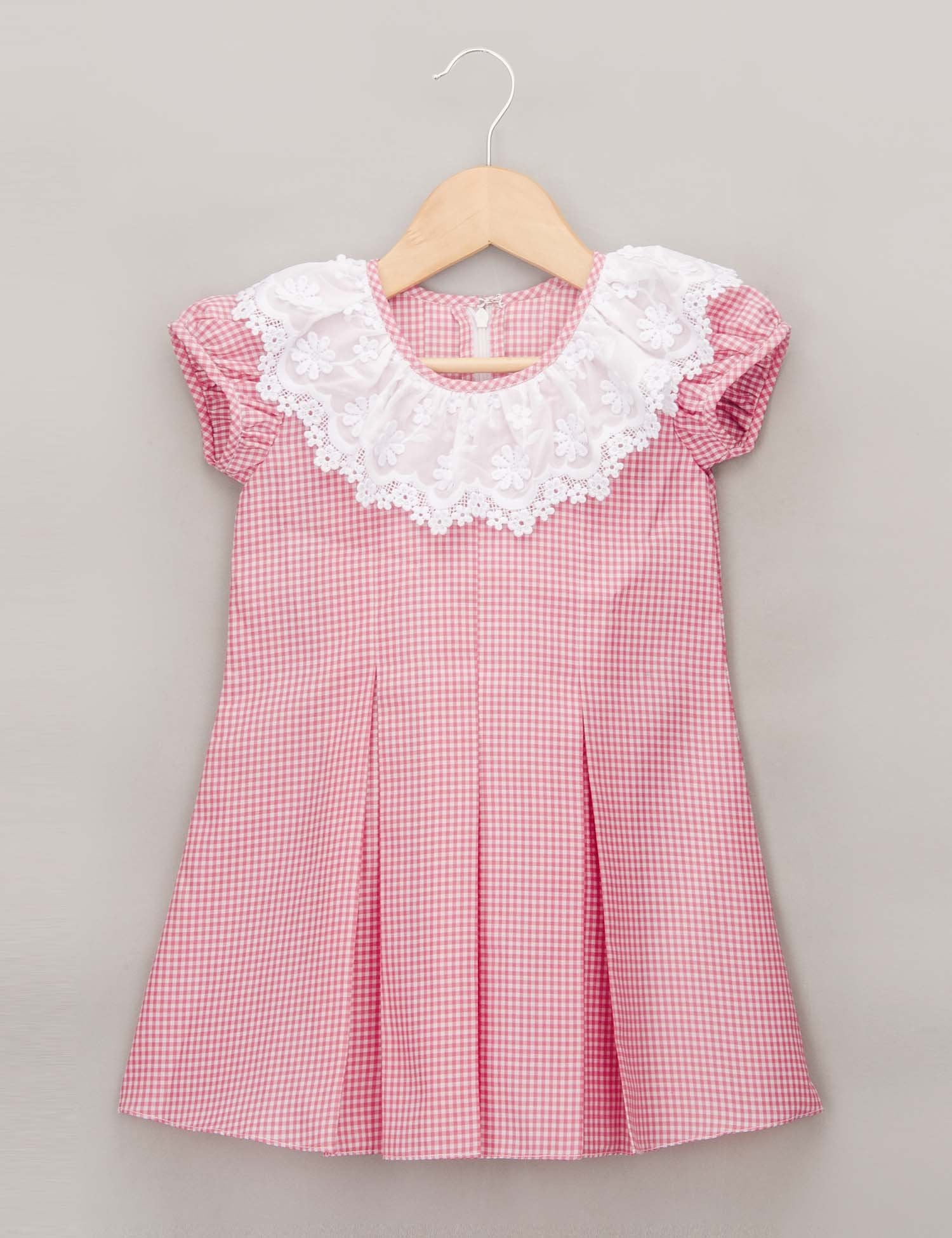 Pink Checked Dress with Ruffled Lace Collar for Girls