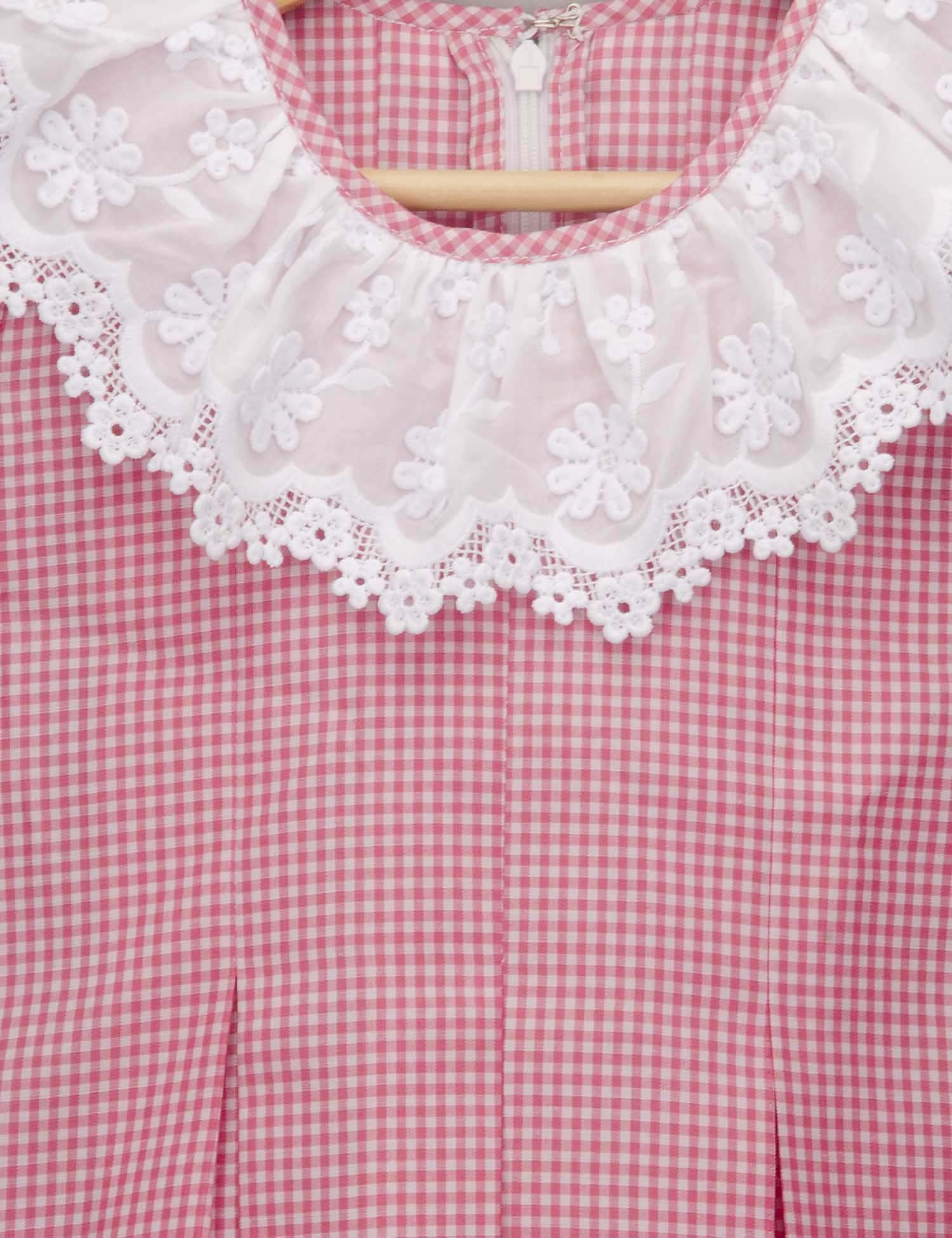 Pink Checked Dress with Ruffled Lace Collar