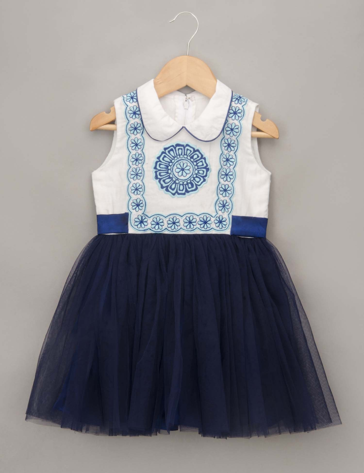 2d2ac93ed0 Blue Dress with Center Embroidered Motif for Girls