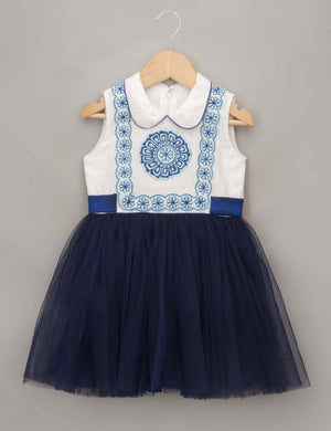 Blue Dress with Center Embroidered Motif for Girls