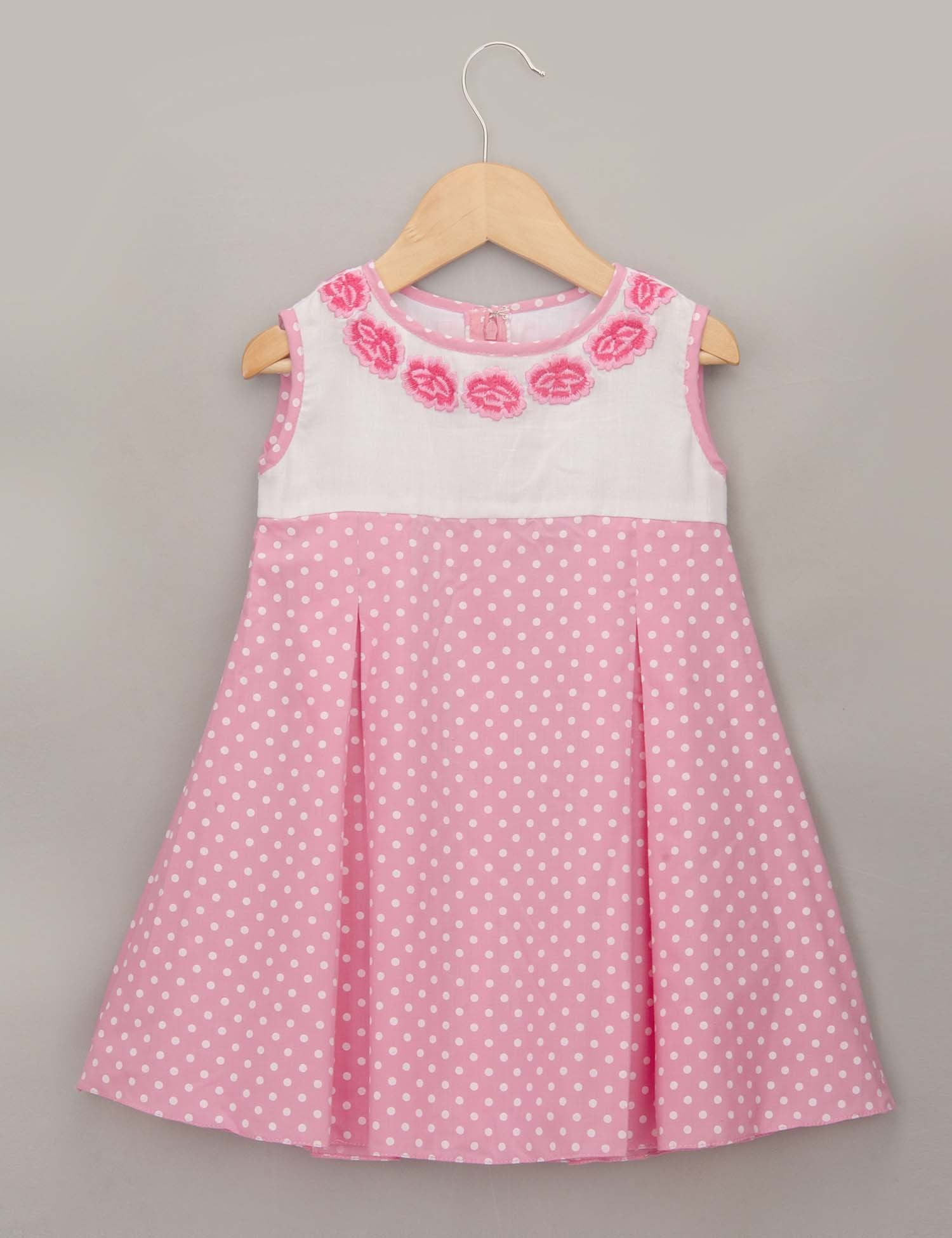 Sleeveless Pink Polka Dot Dress
