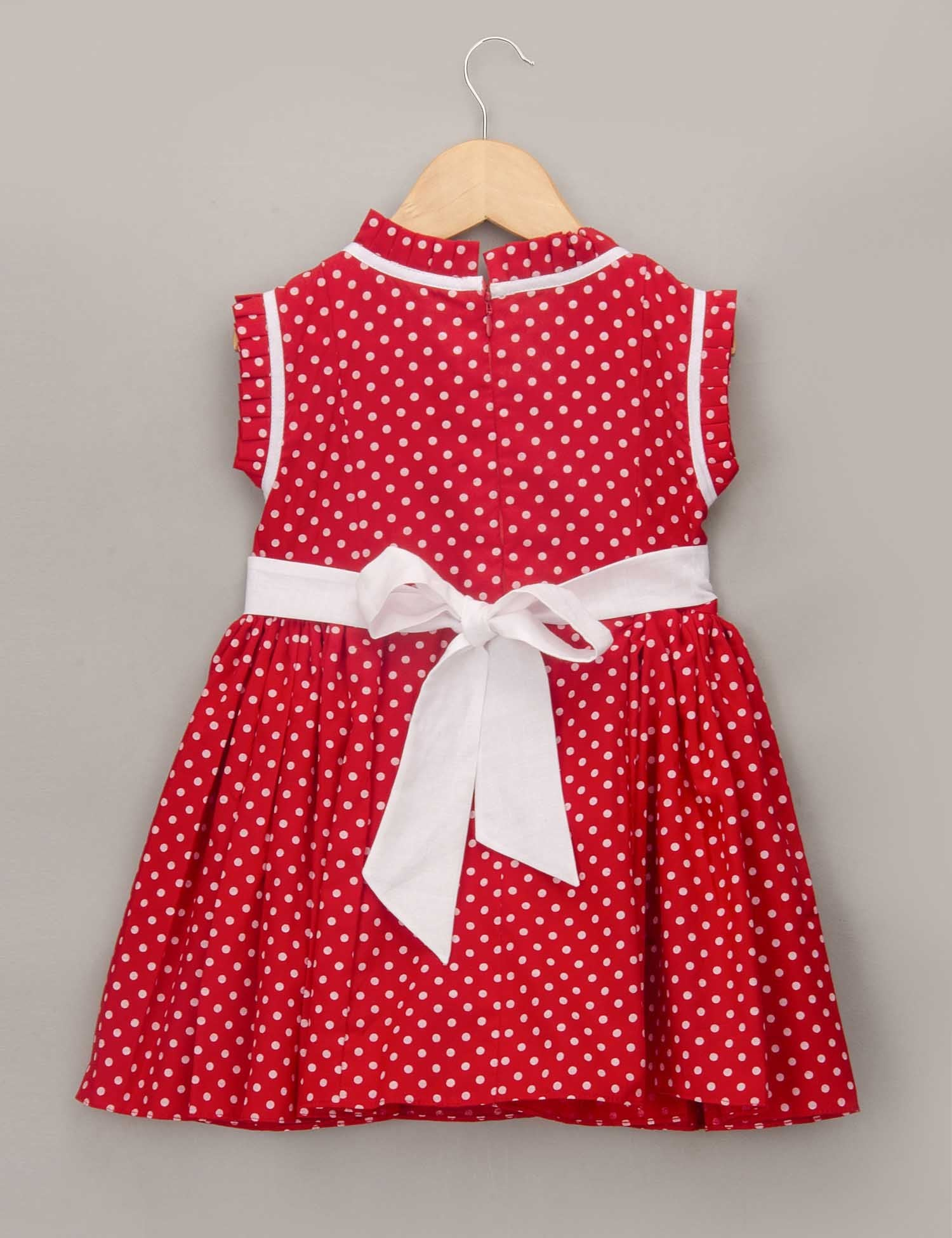 Red Polka Dot Dress with Pleated Ruffled Frill