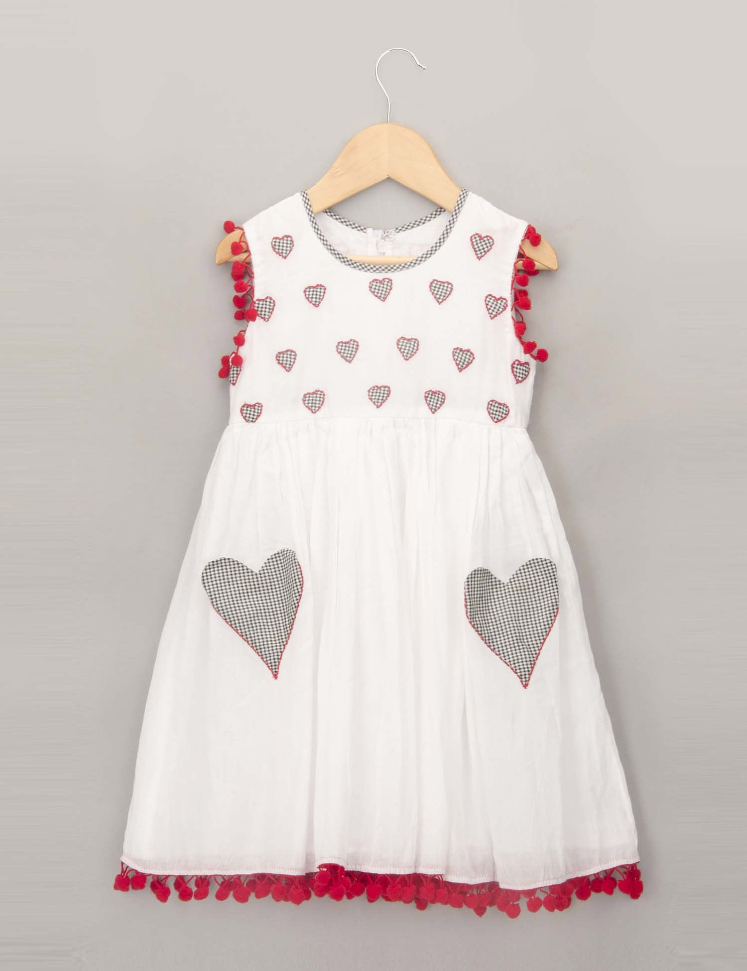 Patchwork Embroidered Dress with Heart Pockets