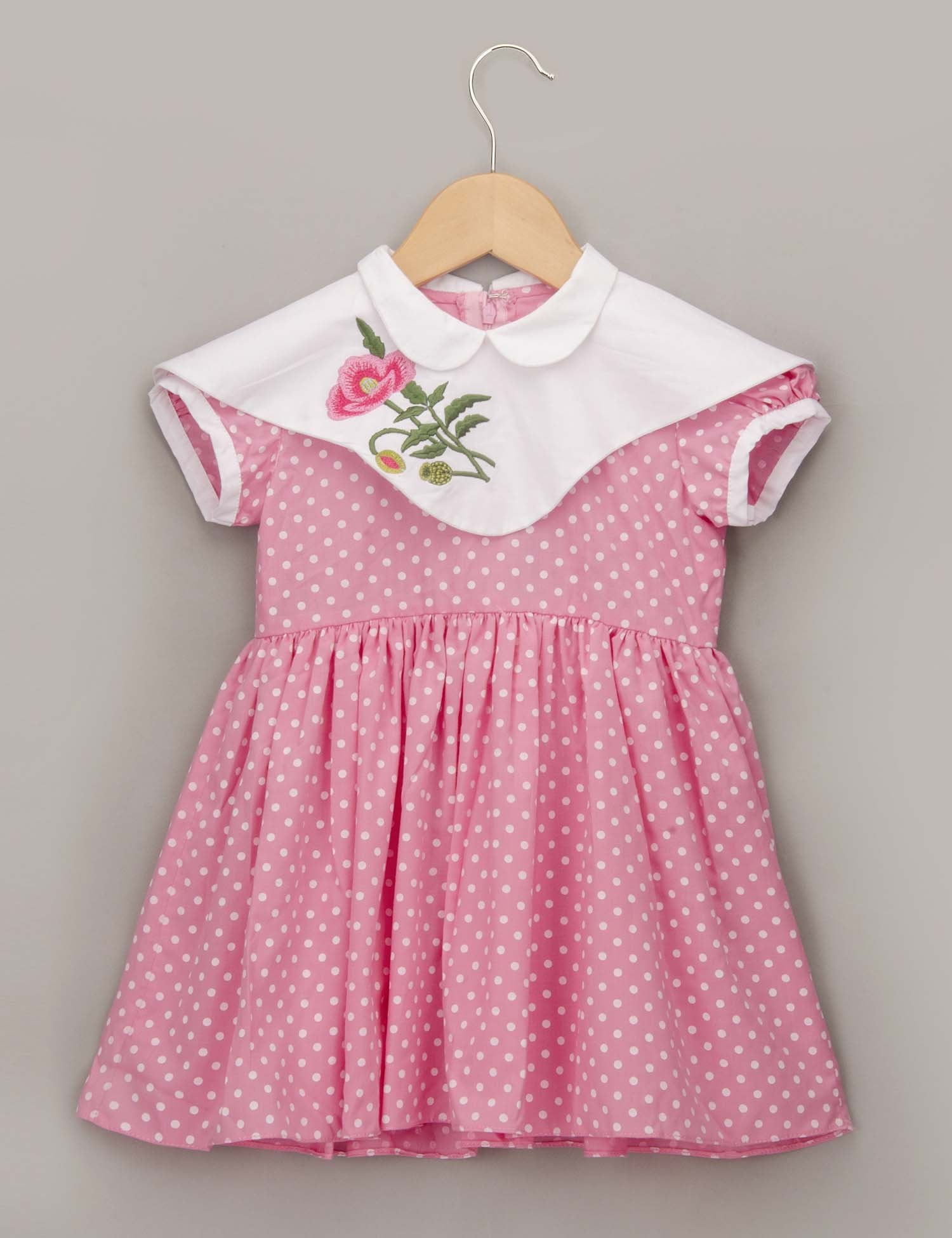 Pink Polka Dot Dress with Double Collar for Girls