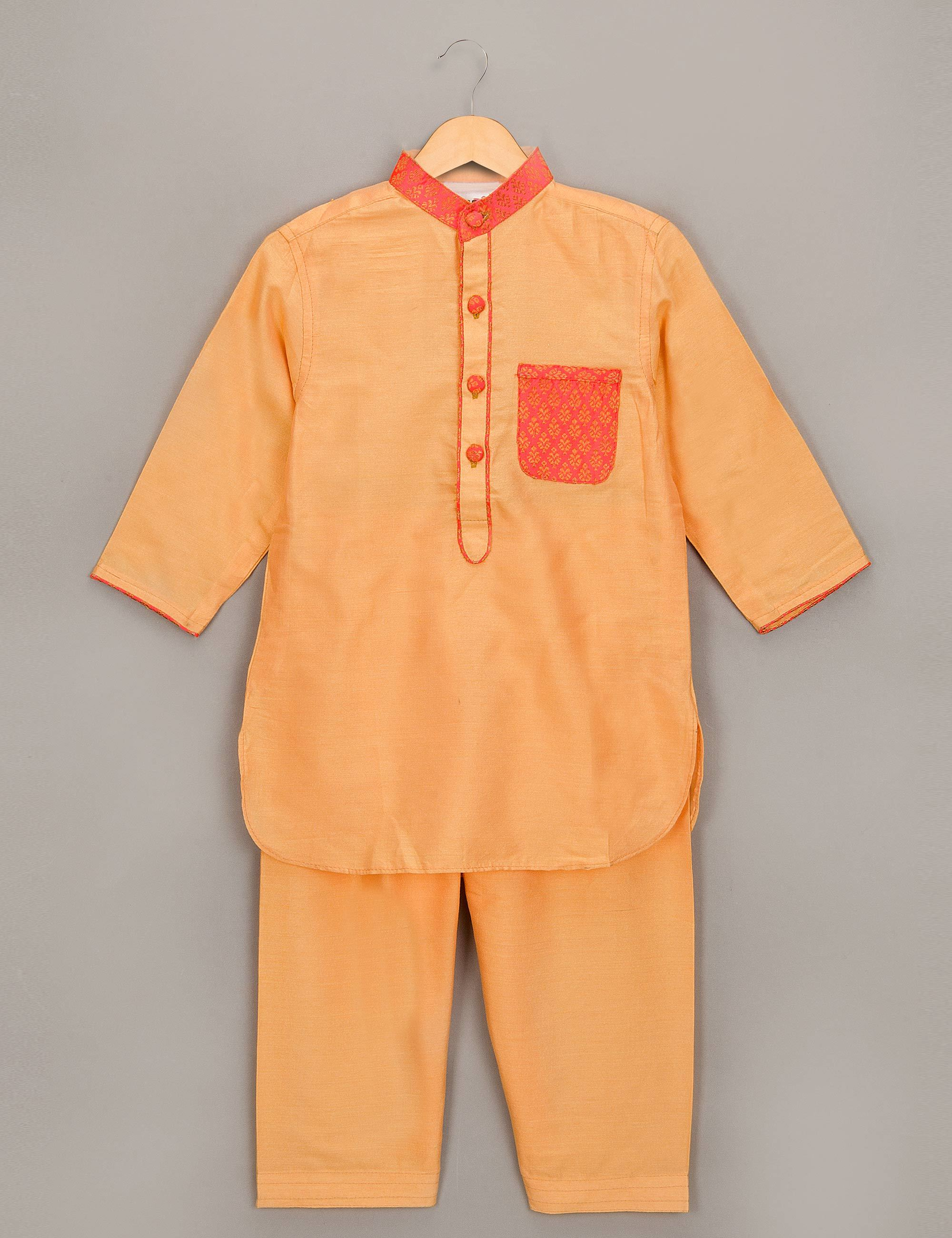 Orange Pathani Set with Designer Pocket for Boys