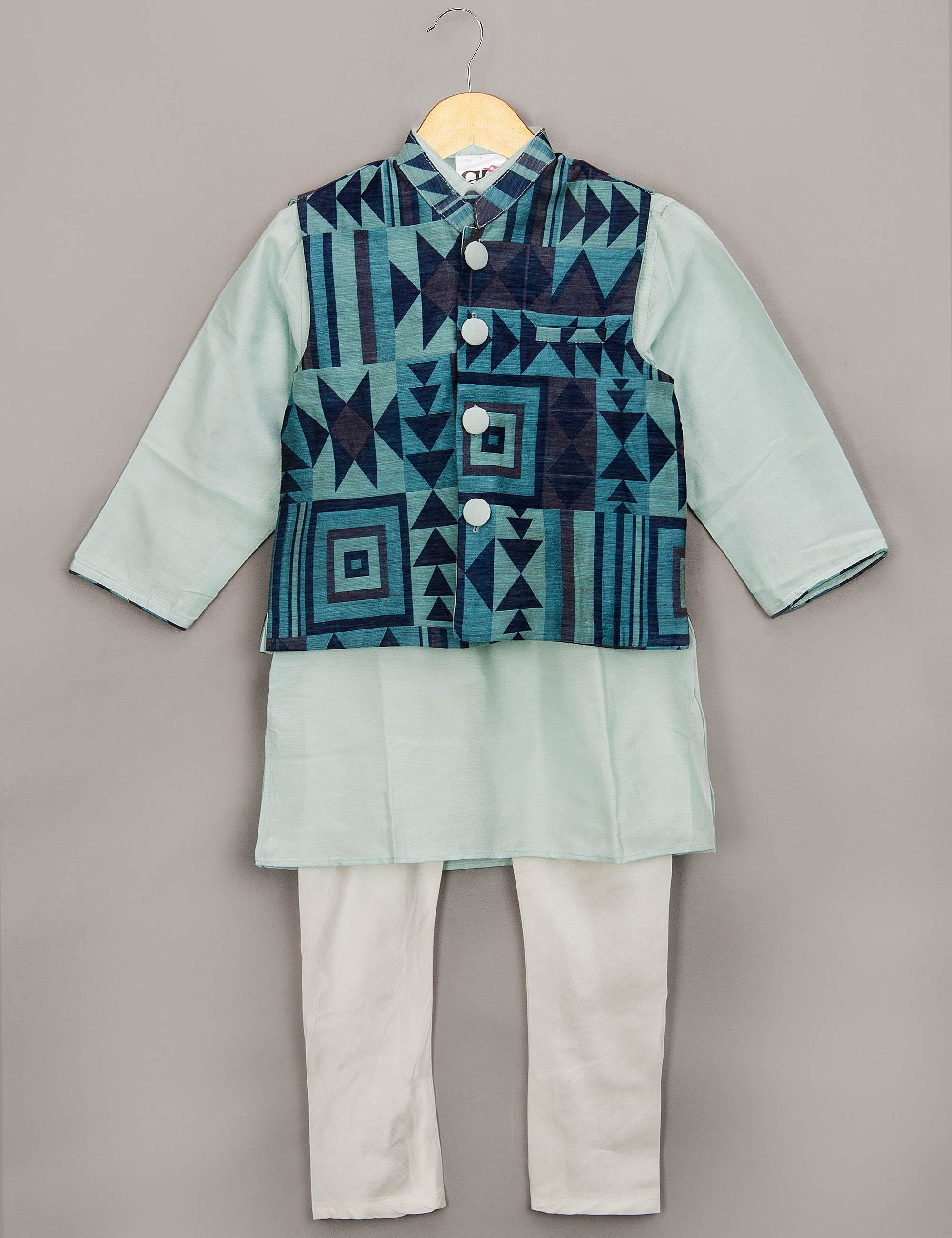 Geometric Printed Nehru Jacket Set for Boys