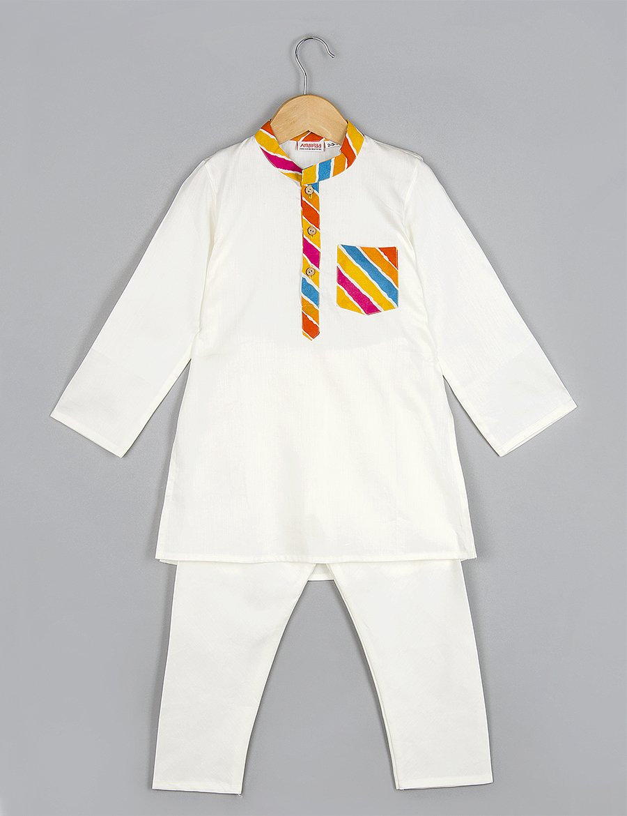 White Kurta with Pyajama for Boys