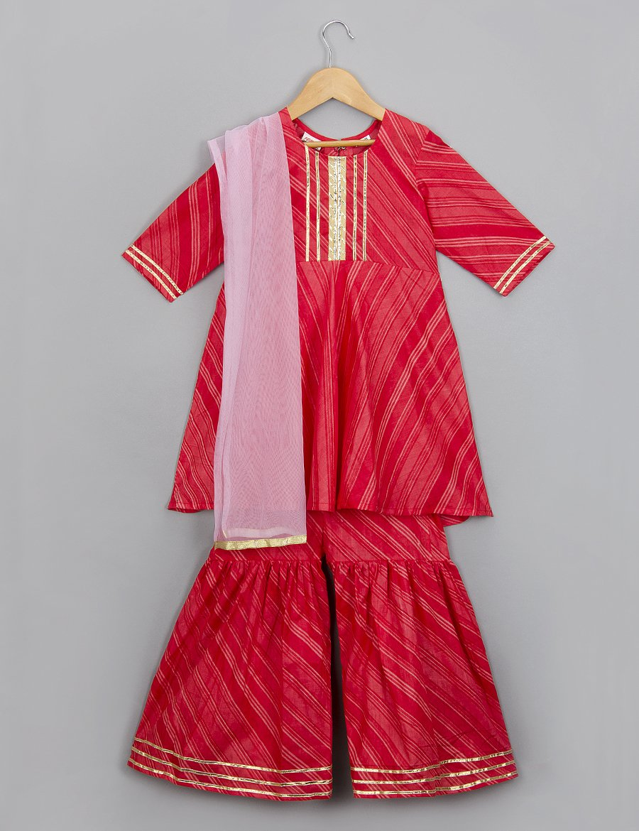Red Kurti and Pallazo Set for Girls