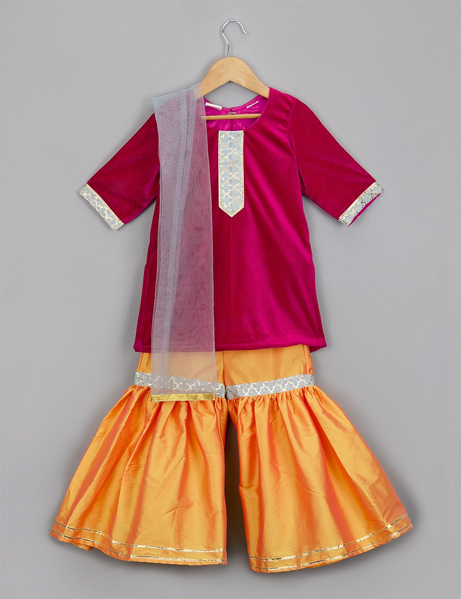 Red Kurti and Yellow Pallazo Set for Girls