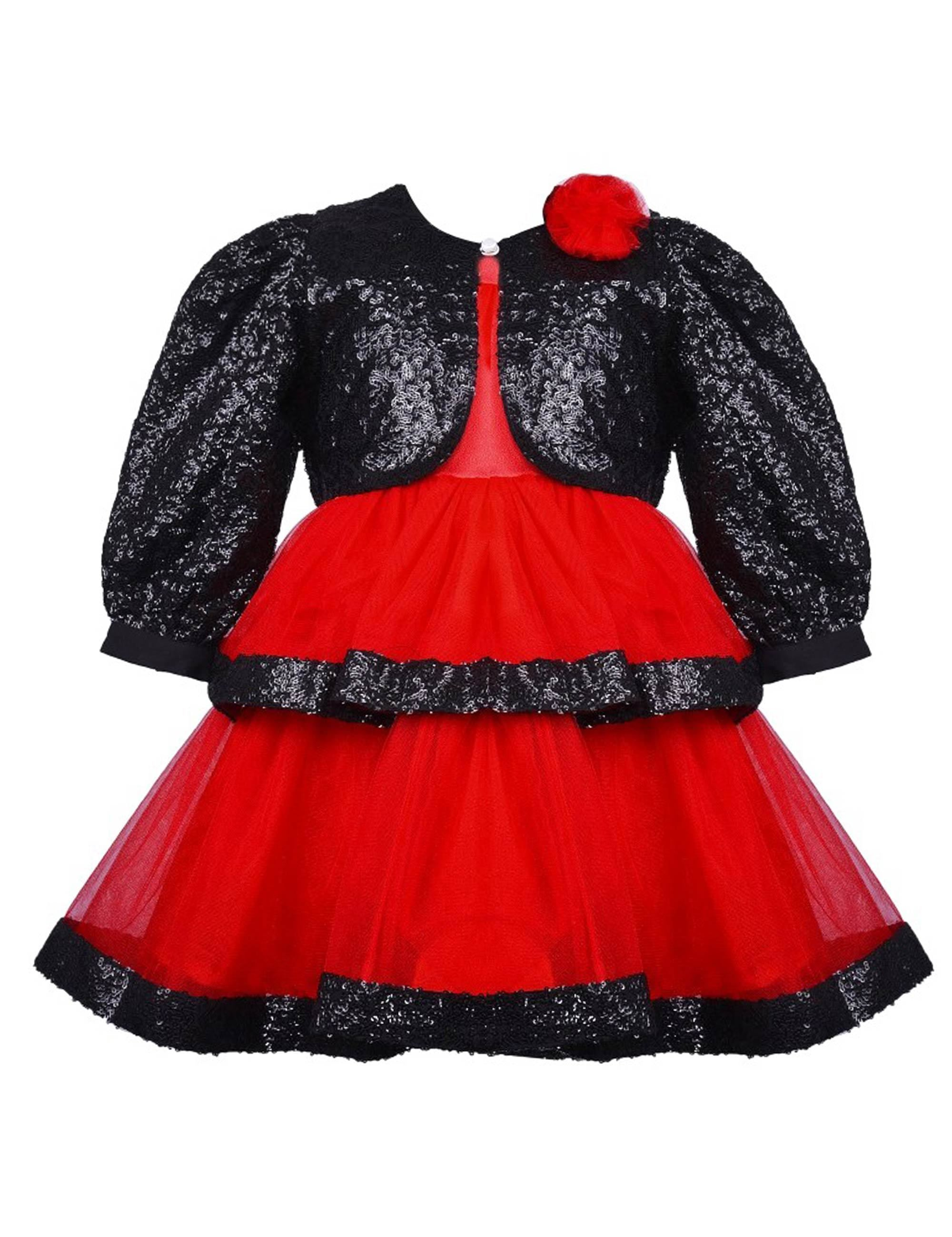Black Sequins Jacket with Red Flared Short Dress for Girls