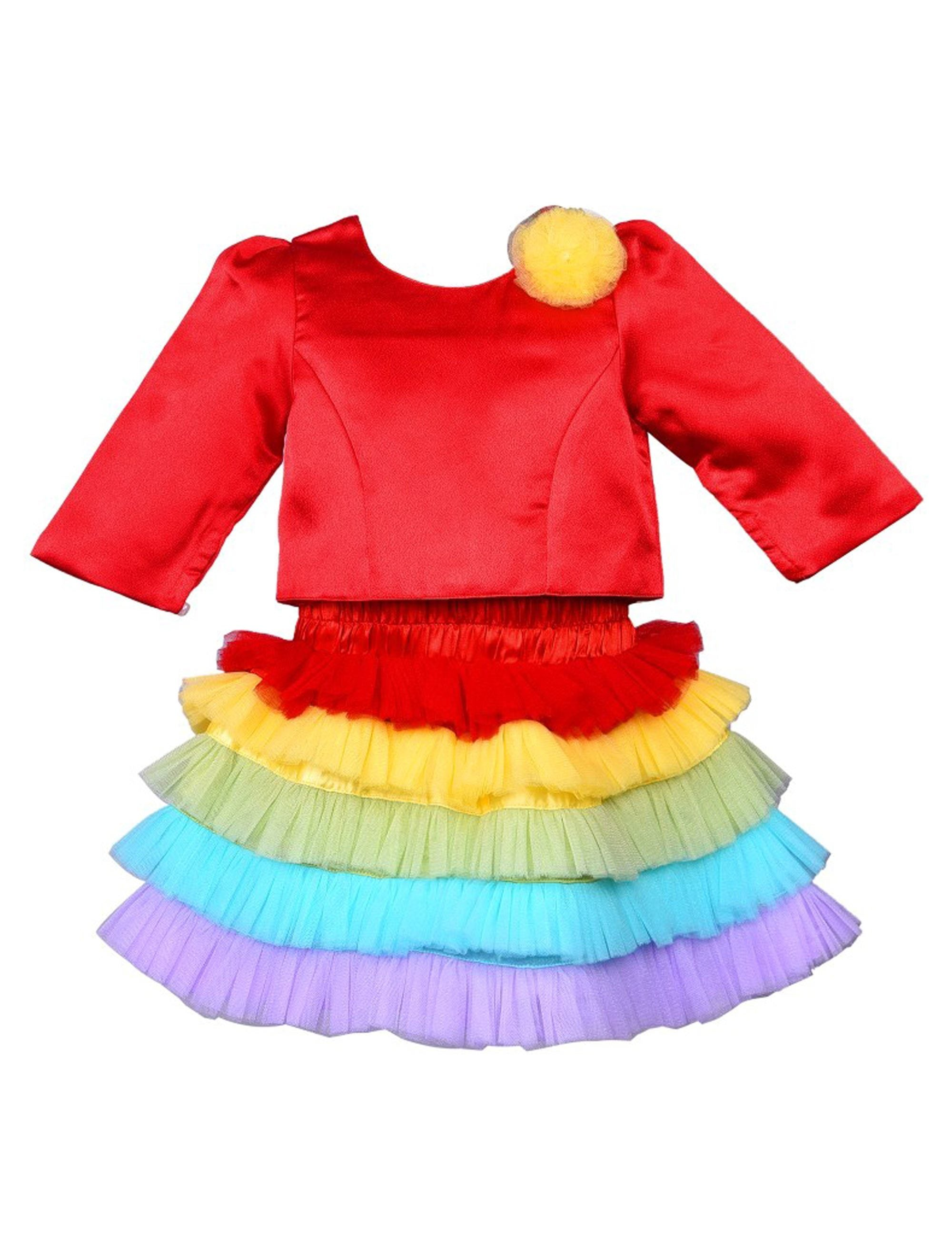 Rainbow Skirt with Red Top for Girls