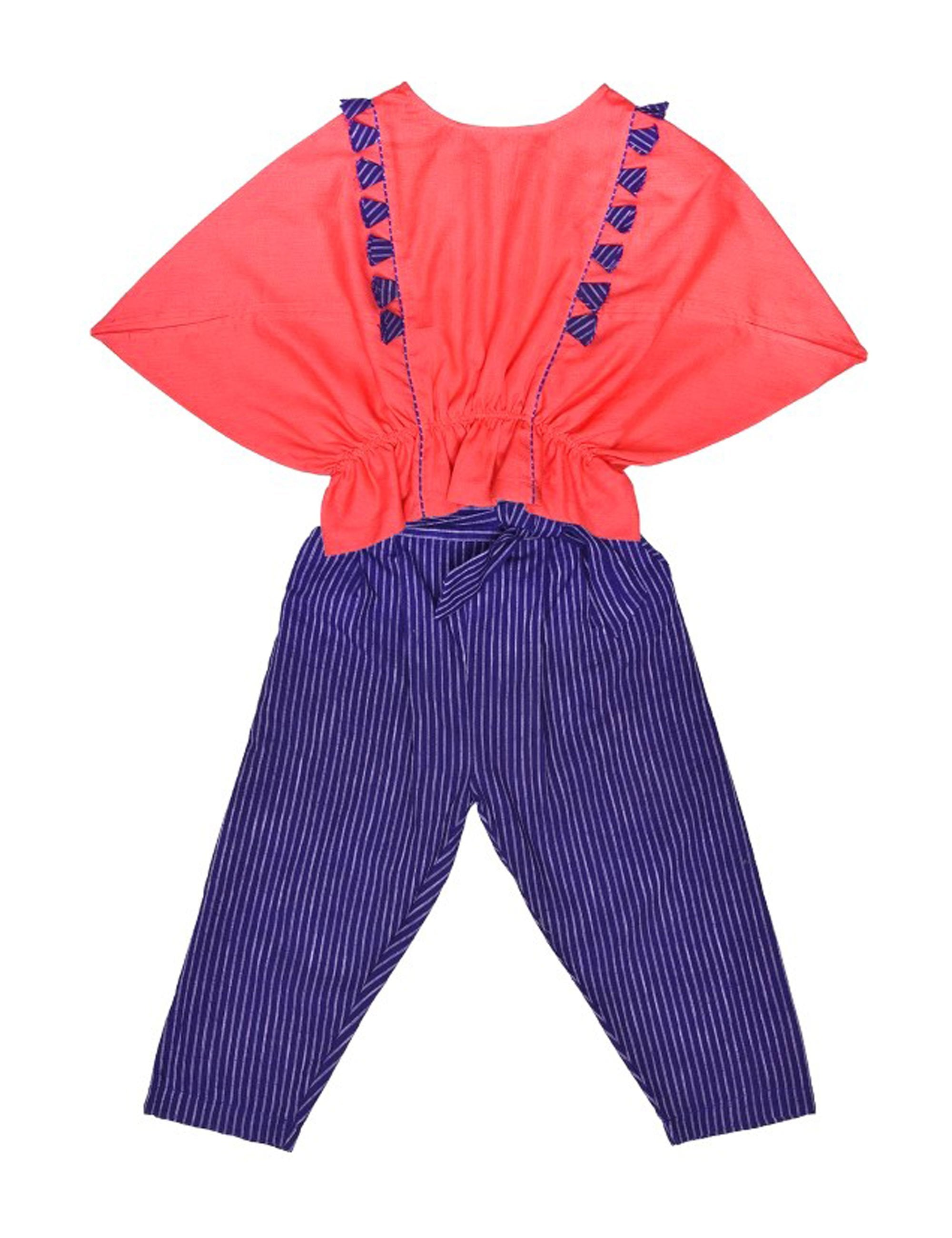 Balloon Tops with Triangular Sleeves and Striped Trouser for Girls