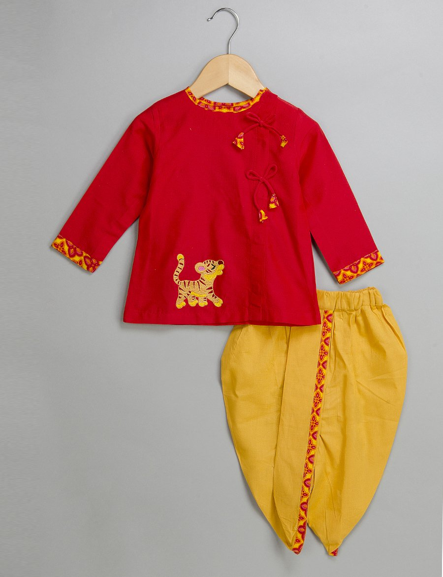 Red Kurta Dhoti for Boys