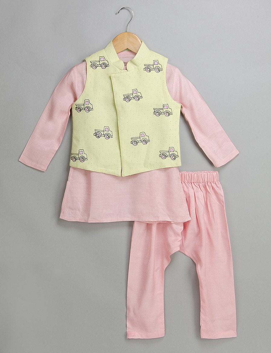 Pink Printed Kurta Jacket Set for Boys