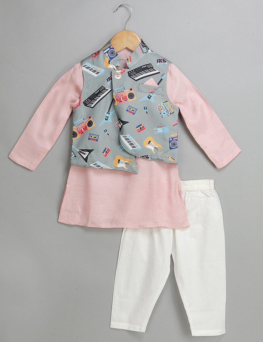 Pink and Grey Printed Kurta Set for Boys