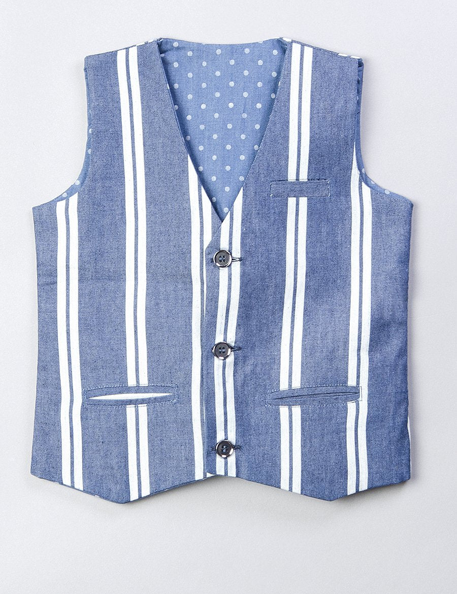 Linen Waist Coat Set In Blue Colour