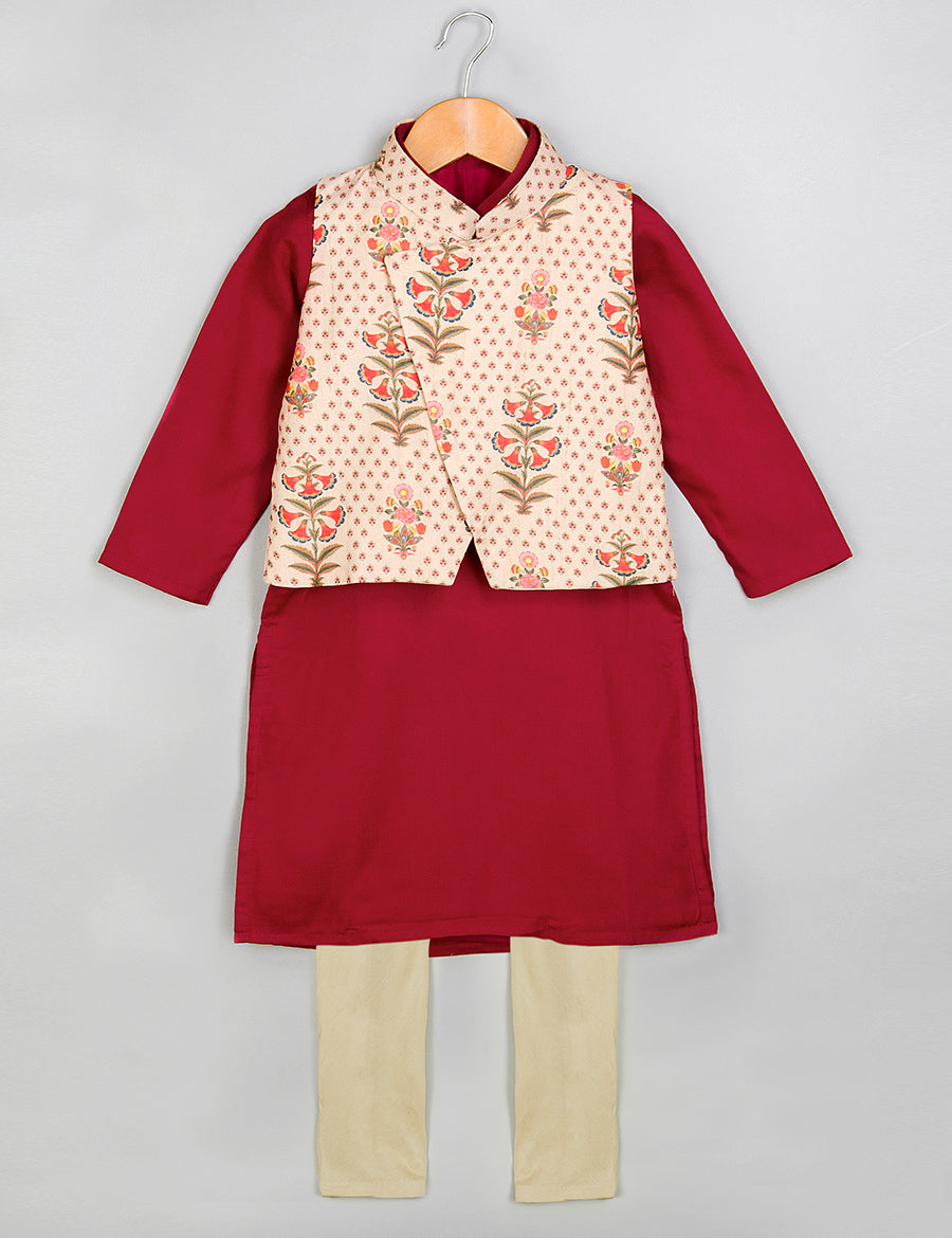 Printed Kurta, Pajama Set with Jacket