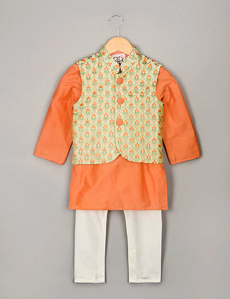 Floral Boti Kurta Pyajama Set with Nehru Jacket for Boys