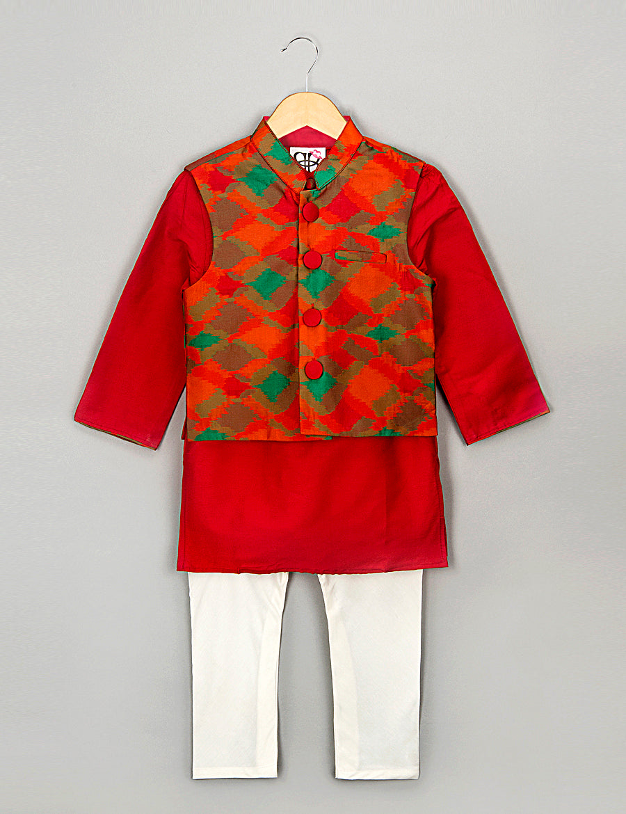 Red and Green Kurta Pyajama Set with Nehru Jacket for Boys