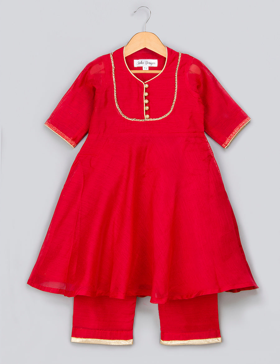 Red Kurta with Golden Lace at Yoke