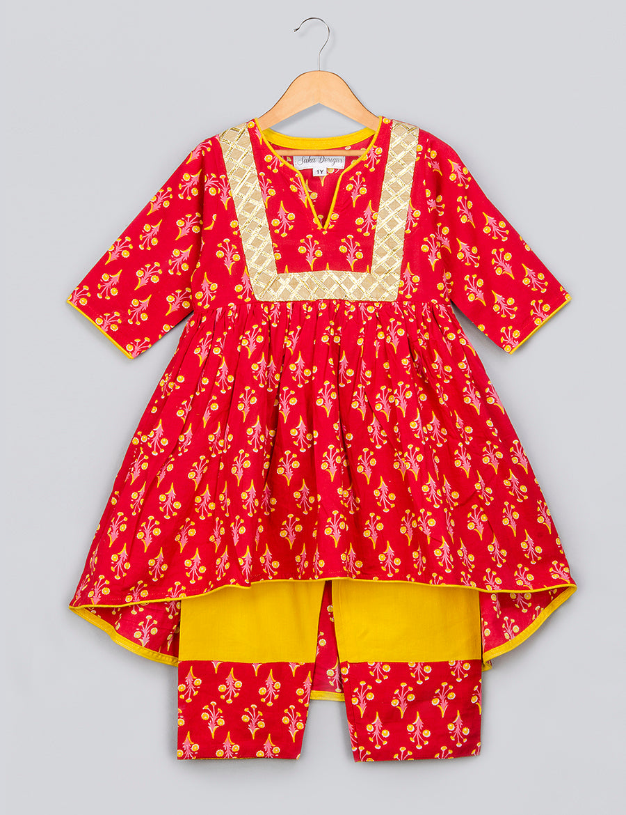 Red Printed Kurta with Up and Down Pattern