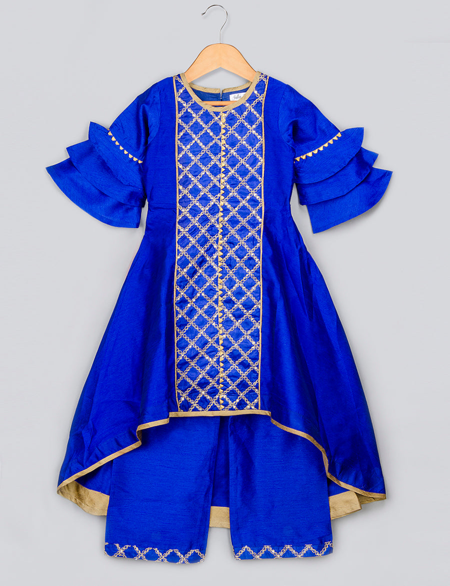 Blue Kurta with Blue Pyjama and Golden Work
