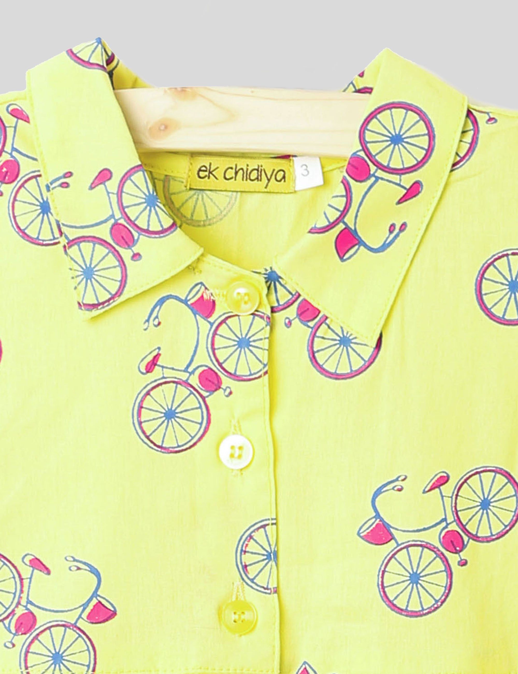 Bicycle Print Summer Frock In Yellow Colour for Girls